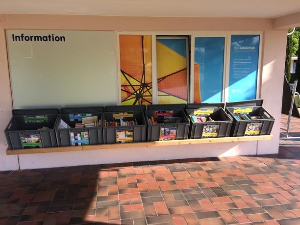 Auf dem Bild sieht man die 6 grauen Kisten der Bdiblbiothek, die mit bunten Büchern gefüllt sind