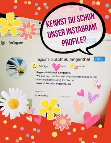 Mit vielen Blumenstickers geschmückt sieht man einen Screenshot des Instagramprofils der Bibliothek