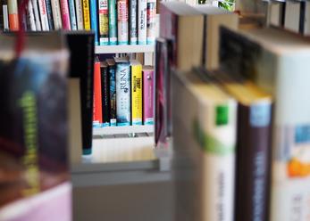Auf dem Bild ein Blick durch auseinenadergeschobene Bücher hindurch auf ein Büchergestell weiter hinten zu sehen.
