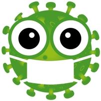 Abgebildet ist die Zeichnung eines grünen COronavirus, das eine weisse Maske trägt