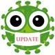 Ein grünes Coronavirus mit grossen Kulleraugen trägt eine weisse Maske auf der in roten Buchstaben Update steht.