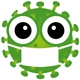 Bild eines grünen Coronavirus mit Maske